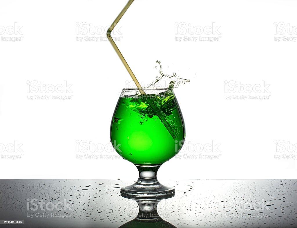 Beverage from estragon on white stock photo