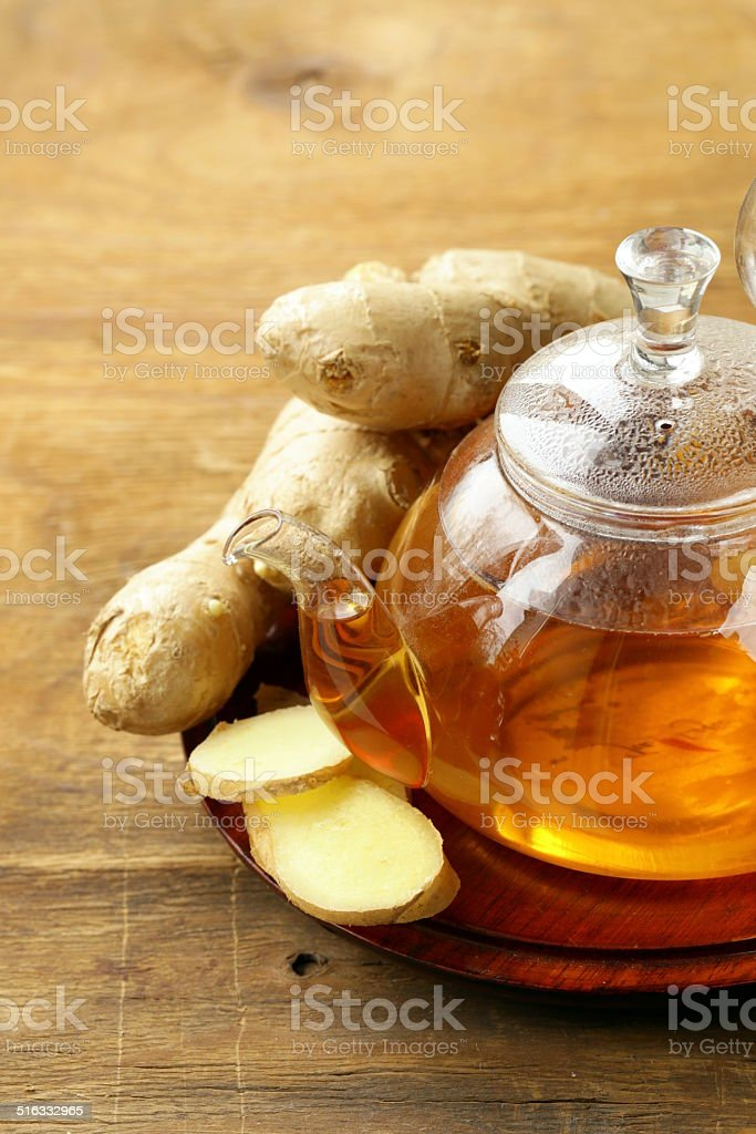 beverage tea with ginger and fresh root stock photo
