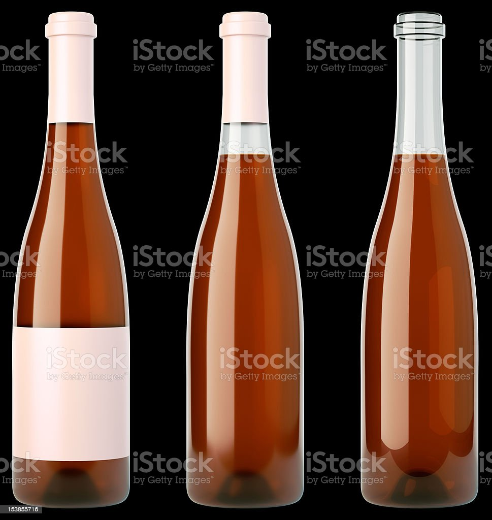 Beverage: three bottles of wine or brandy royalty-free stock photo