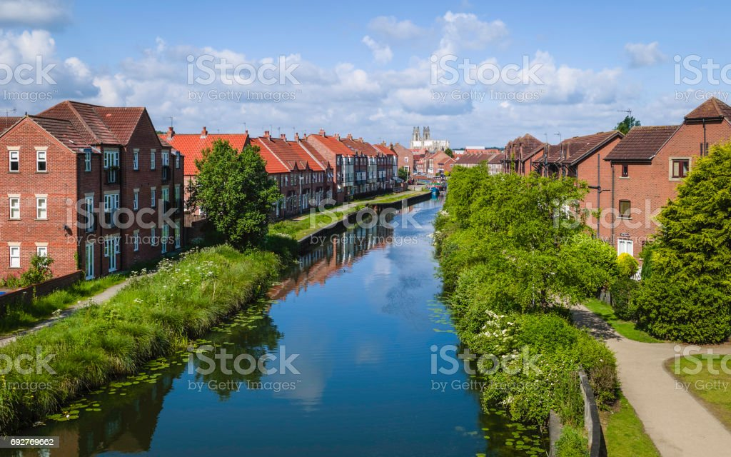 Beverley beck and minster in summer, Yorkshire, UK. stock photo