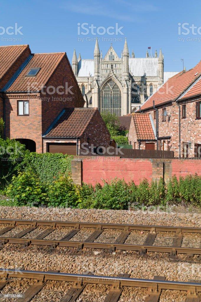 Beverley Minster and urban surroundings, Yorkshire, UK. stock photo