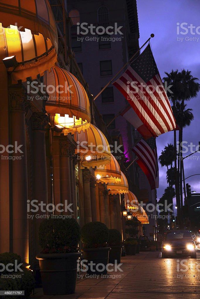 Beverly Hills at night stock photo