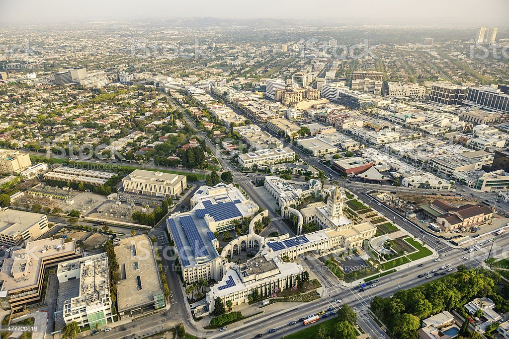 Beverly Hills Civic Center aerial view - Los Angeles California royalty-free stock photo