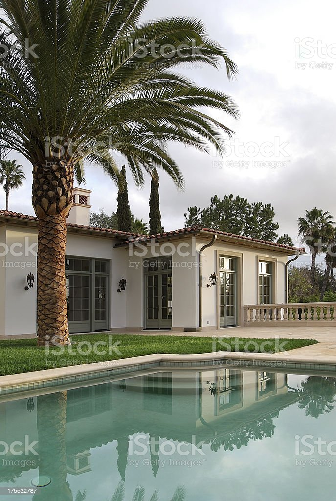 beverly hills home with pool royalty-free stock photo