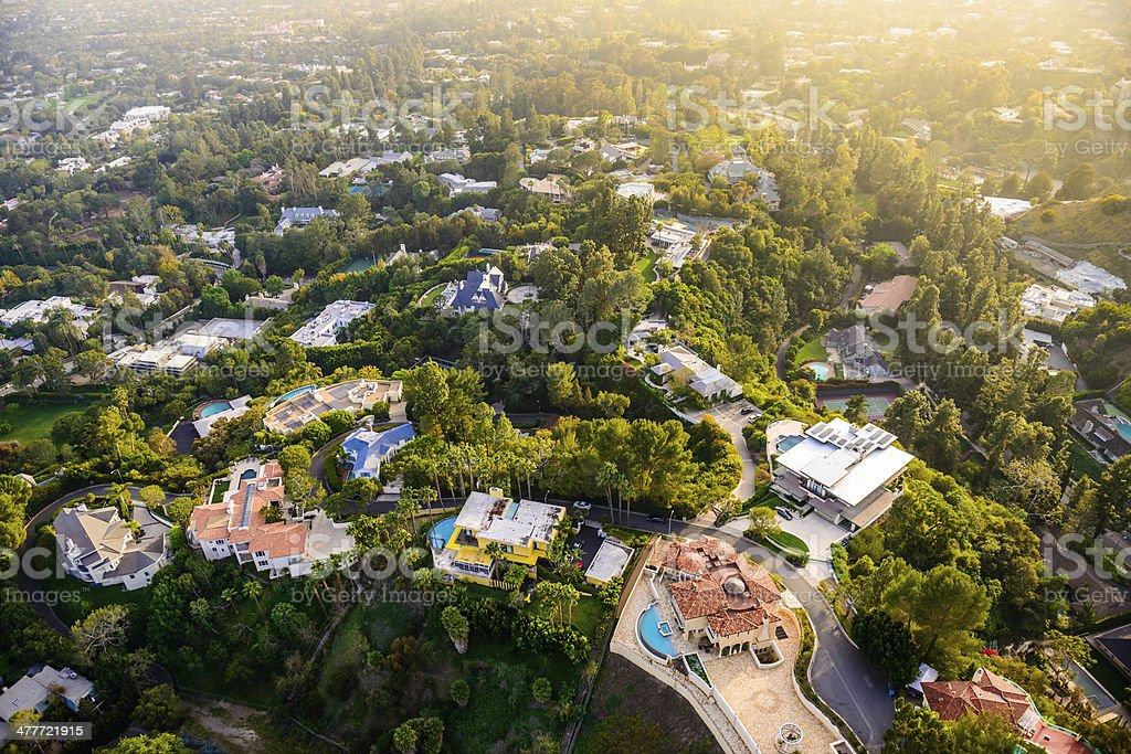 Beverly Hills mansions landscape aerial view -Los Angeles California stock photo