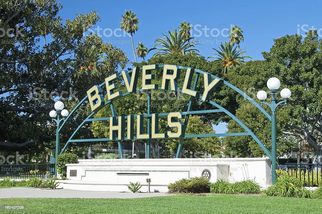 Beverly Hills sign in Los Angeles close-up view stock photo