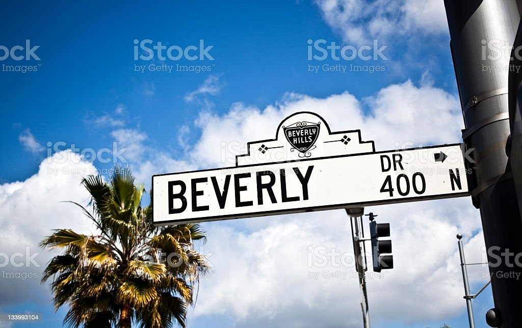 Beverly Hills Street Name Sign Against Vivid Blue Sky royalty-free stock photo