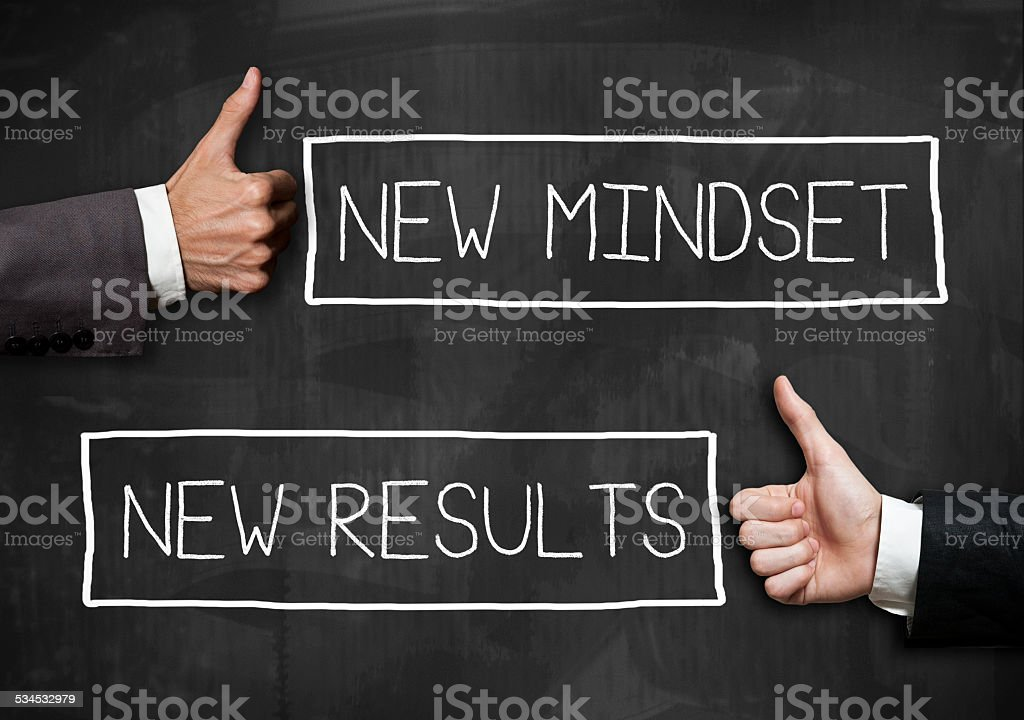 Bew Mindeset and New results / Blackboard concept(Click for more) stock photo
