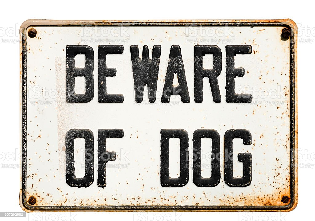 Beware of dog sign on white stock photo
