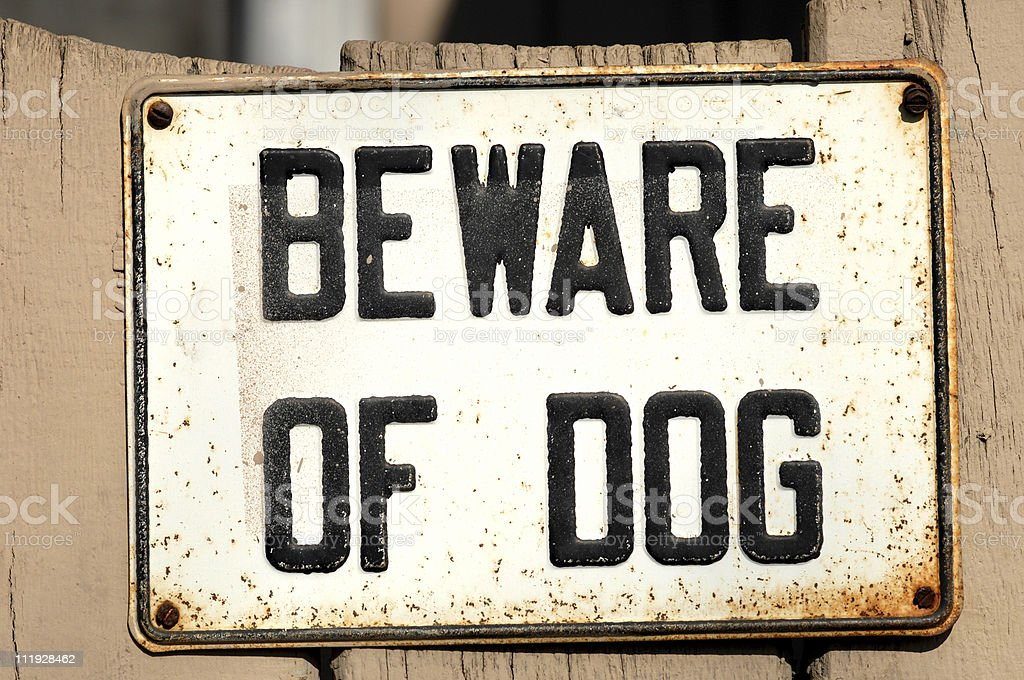 Beware of Dog sign stock photo