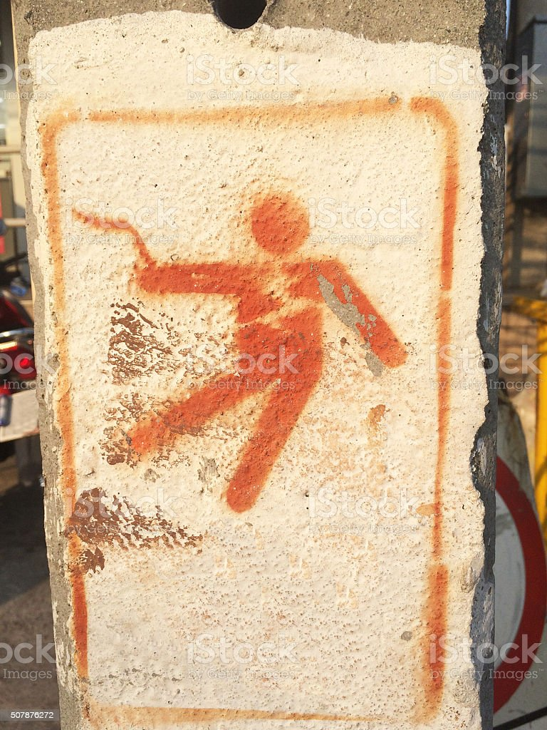 Beware of electric shock stock photo