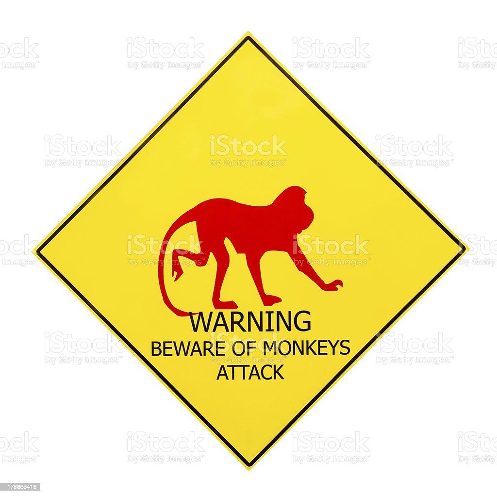 Beware of monkey attack warning signboard royalty-free stock photo