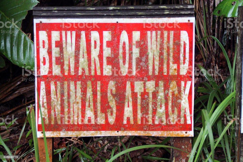 Méfiez-vous des animaux sauvages panneau photo libre de droits