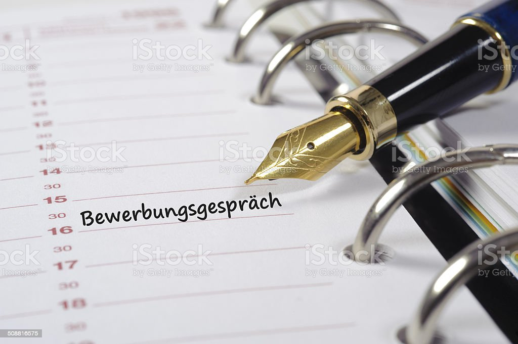 Bewerbungsgespr?ch - date for interview stock photo