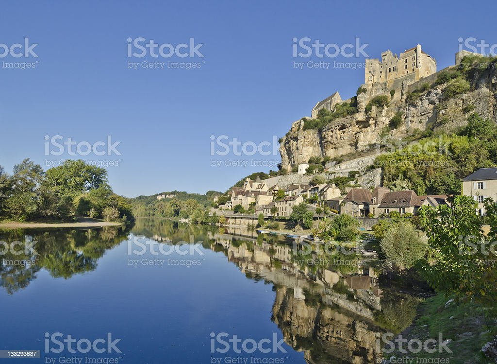 Beynac Castle overlooking the river Dordogne in France stock photo