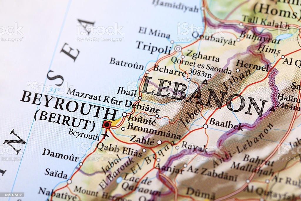 Beyrouth Map, Lebanon royalty-free stock photo