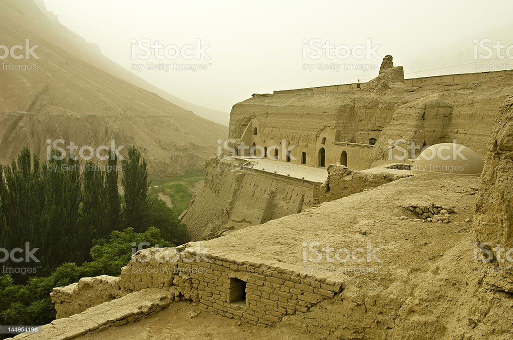 Bezeklik Caves in Xinjiang, China stock photo