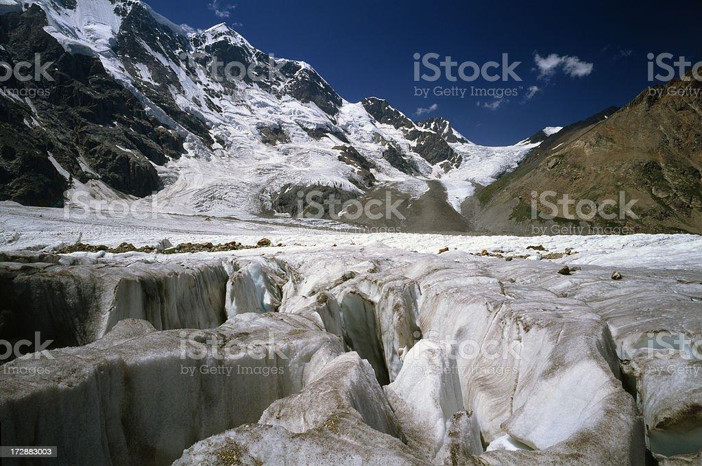 Bezengi Glacier in Caucasus Mountains. stock photo