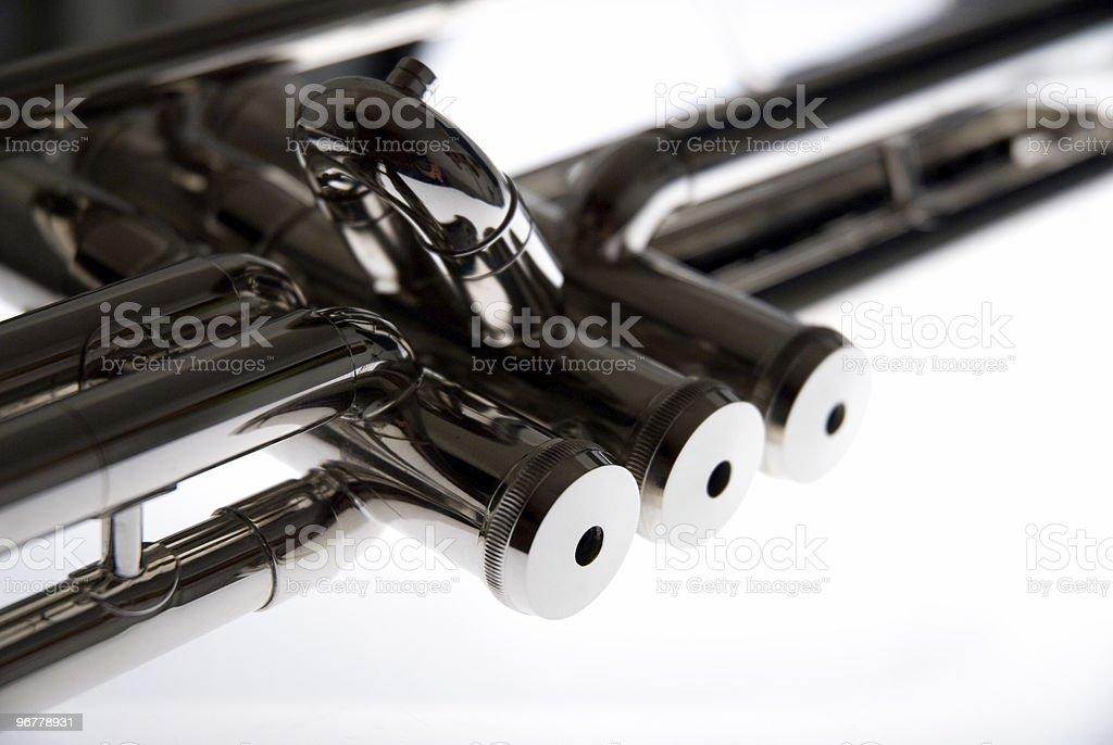 B-flat Silver Trumpet Valve on White Background royalty-free stock photo