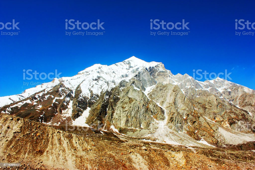 Bhagirathi mountain peak in Himalaya stock photo