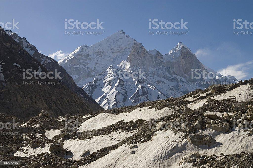 Bhagirathi Parbat and Gangotri glacier stock photo