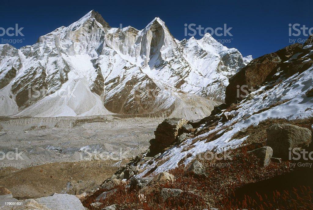 Bhagirathi Peaks, India. stock photo