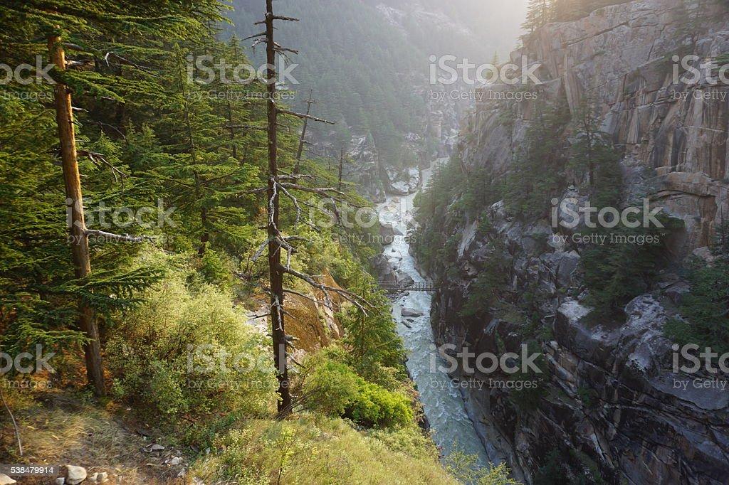 Bhagirathi river in Gangotri valley, Himalayas stock photo