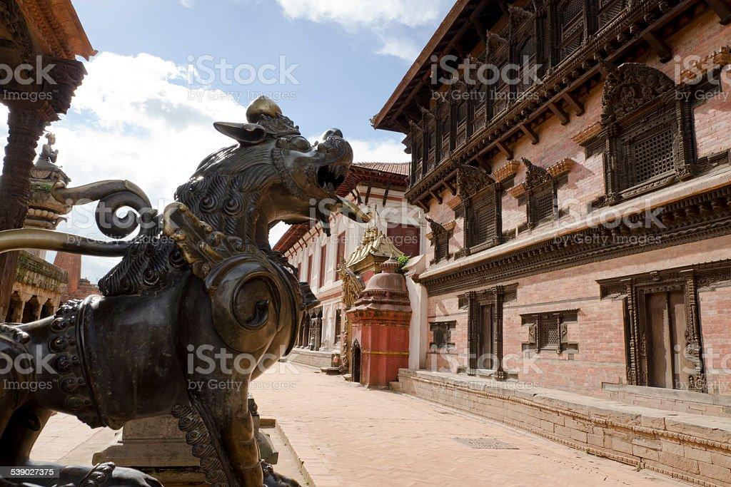 Bhaktapur durbar square premises. stock photo