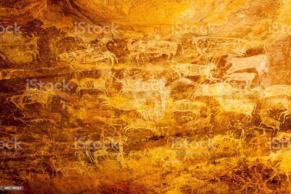 Bhimbetka cave paintings India stock photo