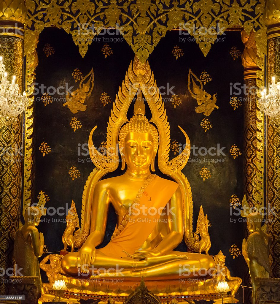 bhudda statue public place in temple thailand stock photo