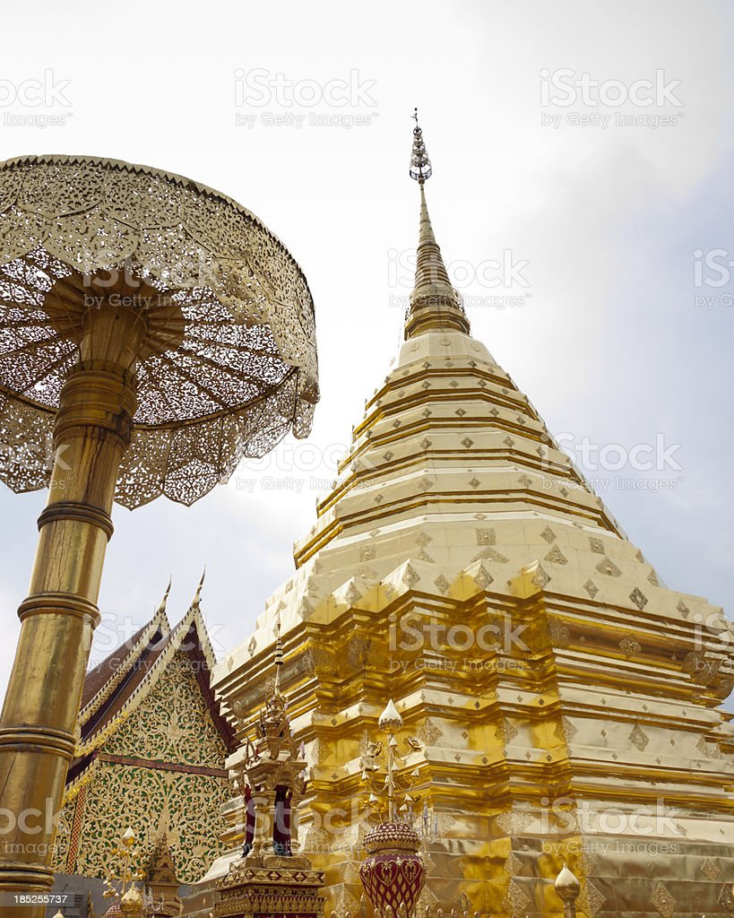 Bhuddist Temple at Doi Suthep in Thailand royalty-free stock photo