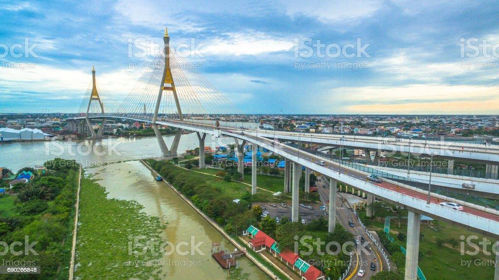 Bhumibol bridge across Cho Phraya river stock photo
