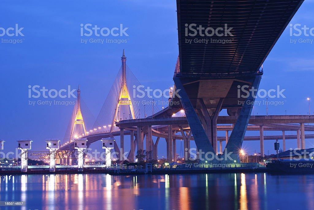 Bhumibol Bridge at dusk inThailand royalty-free stock photo