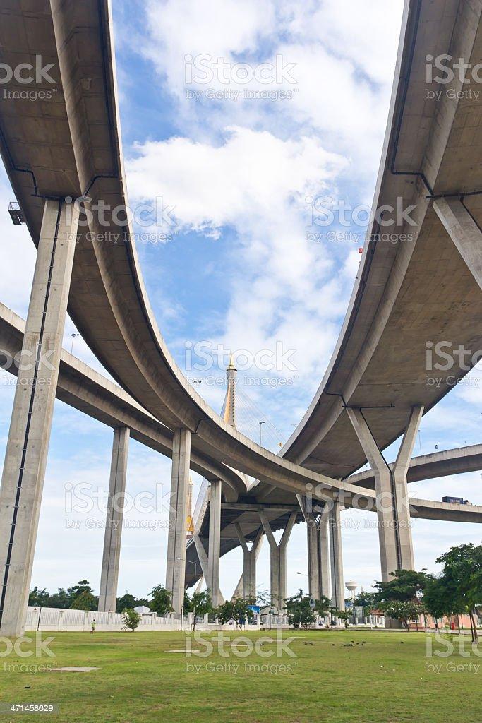 Bhumibol Ponte di Samut Prakarn Bangkok, Tailandia foto stock royalty-free