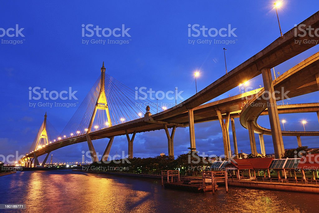 Bhumibol Bridge royalty-free stock photo