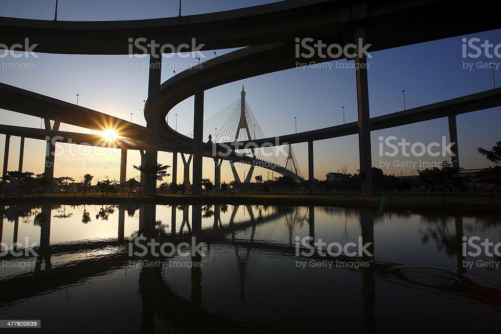 Bhumibol Bridge royalty-free stock photo