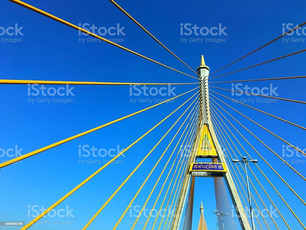 Bhumibol Bridge stock photo