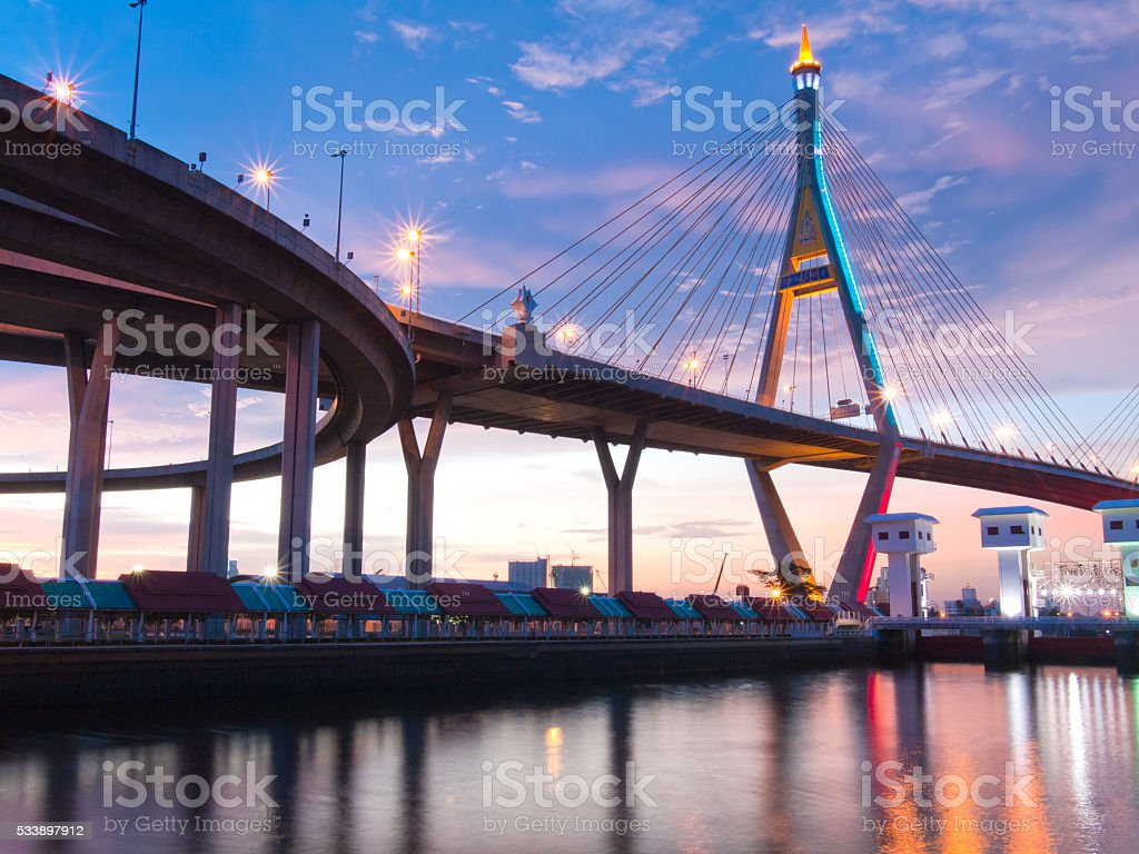 Bhumibol Bridge, The Industrial Ring Road Bridge in Bangkok. Lon stock photo