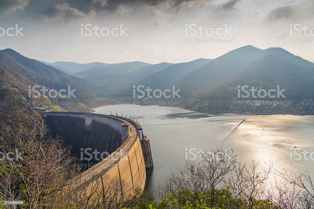 Bhumibol dam in Thailand stock photo