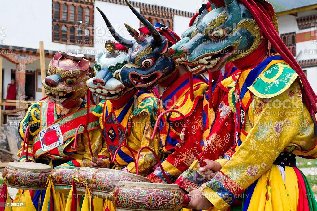 Bhutan dance and music group stock photo