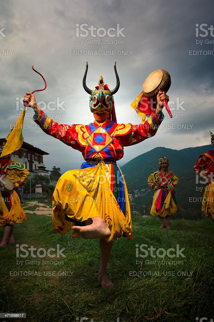 Bhutan dancers stock photo