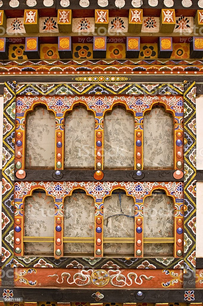 Bhutan - Detail of Traditional  House stock photo