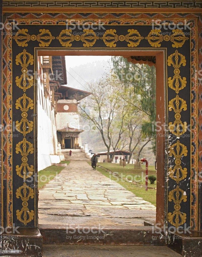 Bhutan - Doorway and Flank of Paro Monastery stock photo