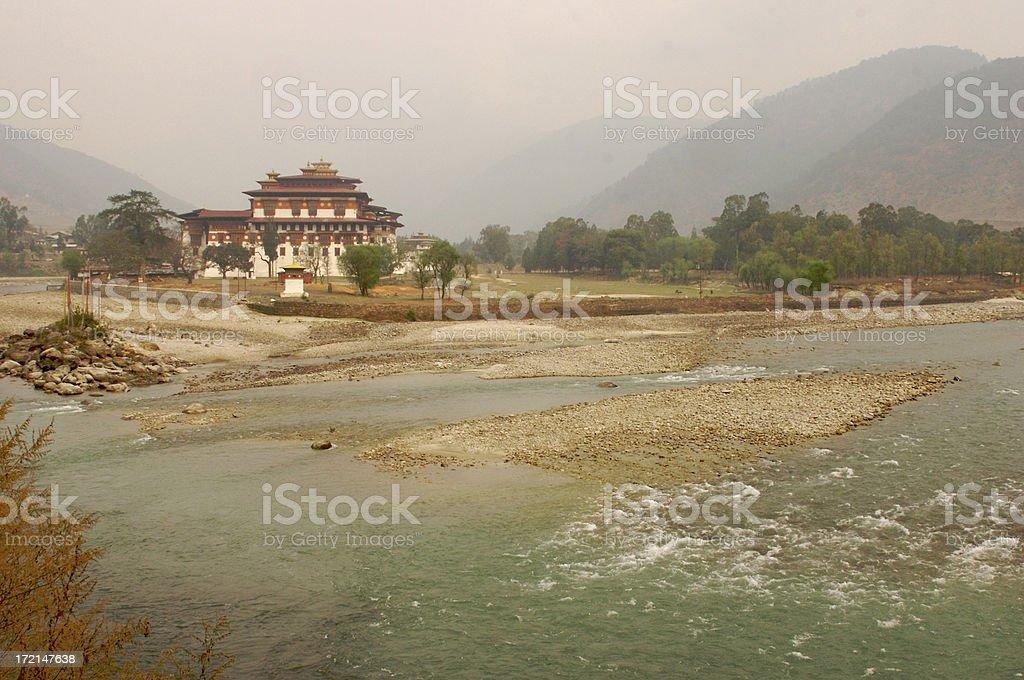 Bhutan: Dzong (temple) and River near Paro stock photo