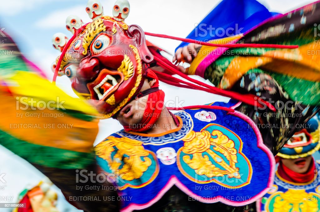 Bhutan, masked Dancer stock photo