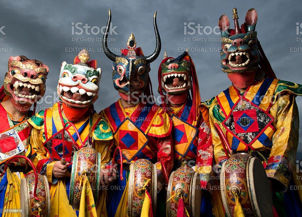 Bhutanese dance group stock photo