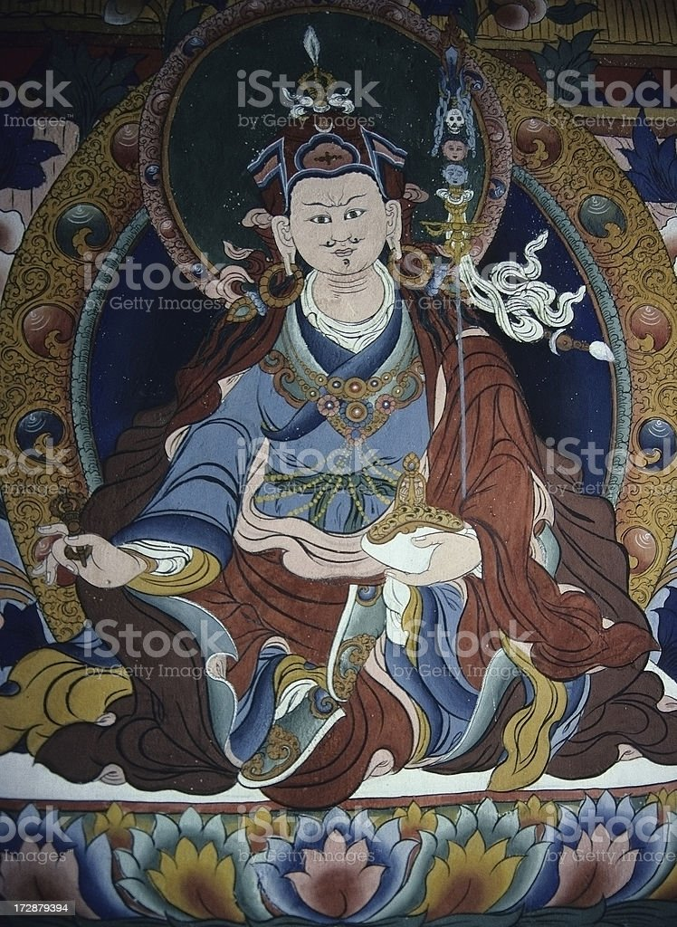 Bhutanese mural of patron deity Padmasambhava stock photo