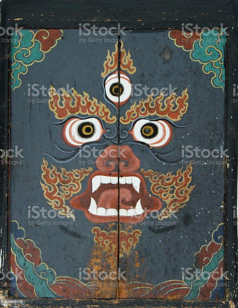 Bhutanese Wrathful Deity Door stock photo
