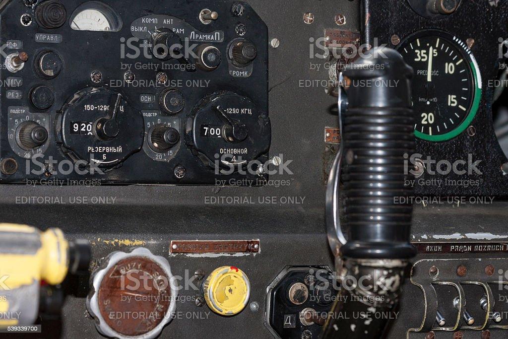 Bialystok , Poland , June 12, 2016: Joystick., airplane cockpit closeup stock photo