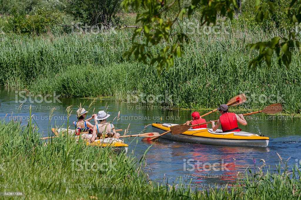 Bialystok, Poland , June 25 , 2016 : Canoeing unregulated natural river stock photo
